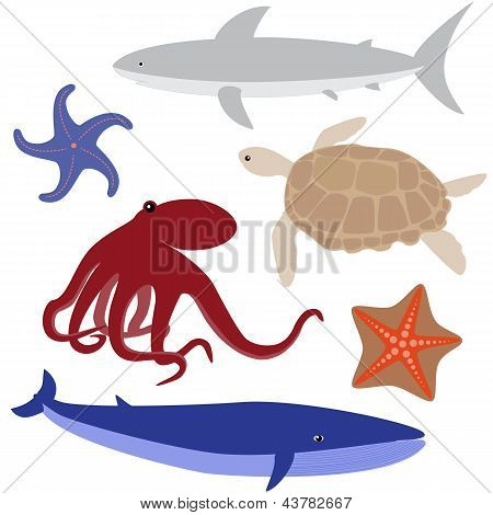 Cartoon sea life set 4