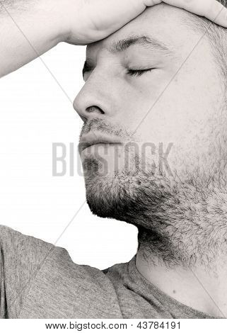 Depressed Man With Head In His Hands