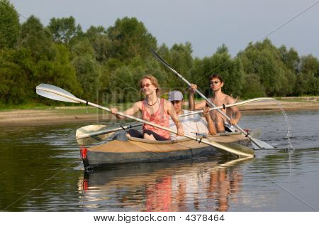 Peoples On Canoe