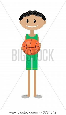 cartoon illustration of a boy with a basketball