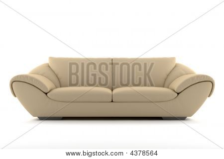 Beige Leather Sofa Isolated On White Background