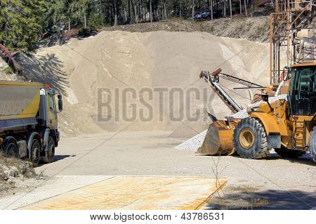 bulldozer gravel mine