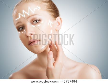 Concept Skincare. Skin Of Beauty Woman With Facelift, Plastic Surgery, Rejuvenation, Arrows