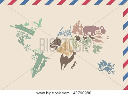Vintage envelope with world map made of landmarks
