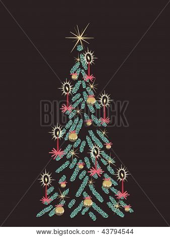 Retro brown Christmas tree card