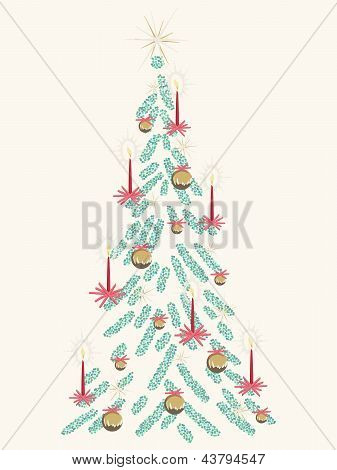 Retro beige Christmas tree card