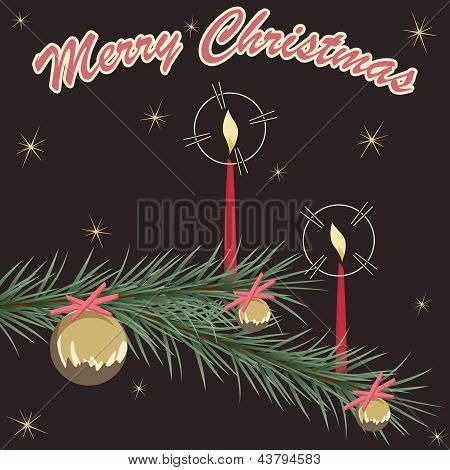 Retro Christmas ornament card on brown background