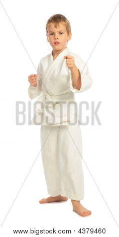 Boy In A Rack In Karate