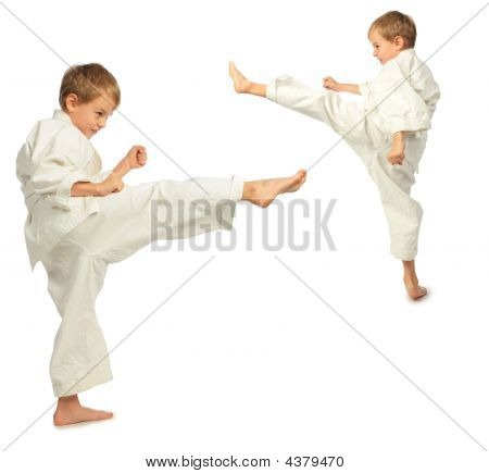 Karate Boys Kick By Foot