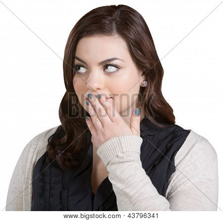 Woman With Fingers On Mouth