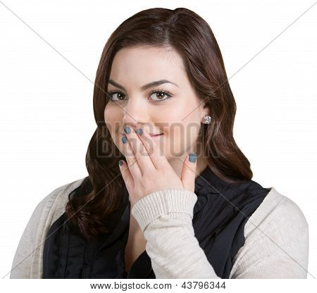 Smiling Woman Covering Mouth