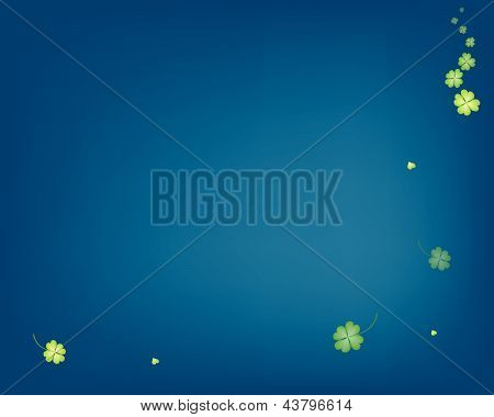 Illustration Of Delicate Shamrocks On Blue Background