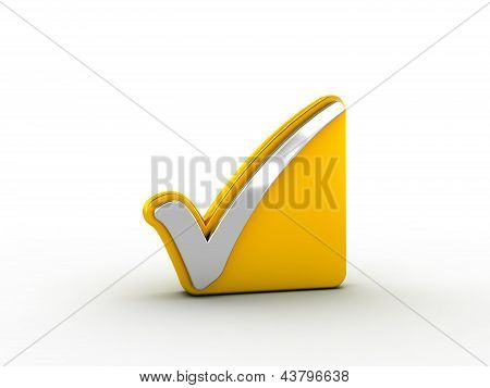 Silver check mark on golden plate