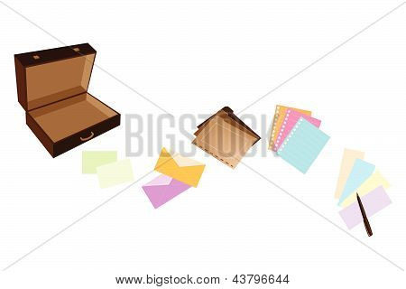 Illustration Of Leather Suitcase With Office Supply