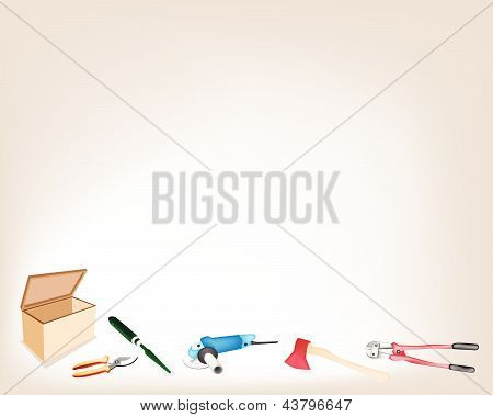 Collection Of Various Craft Tools With Wooden Box