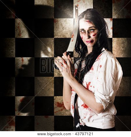 Gruesome Evil Zombie Holding Bloody Saw