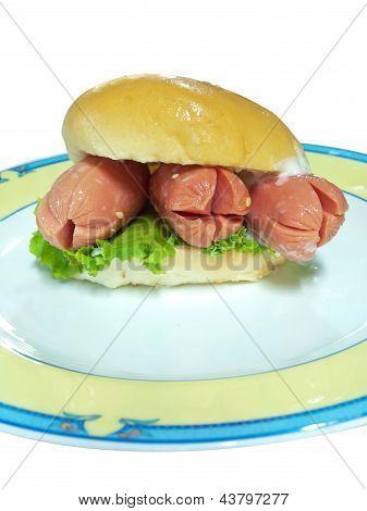 Hot Dog In Hamburger Bread