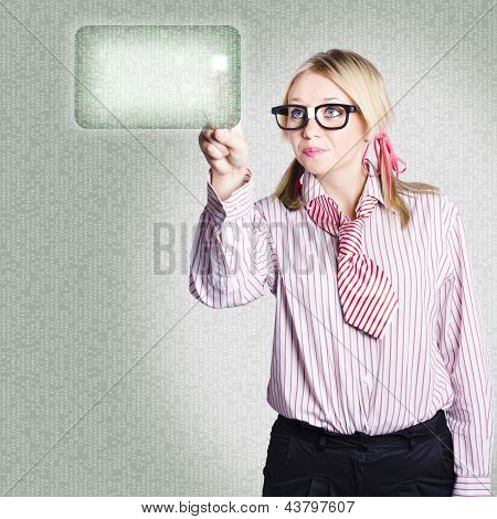 Woman Pressing Touch Screen Technology Button