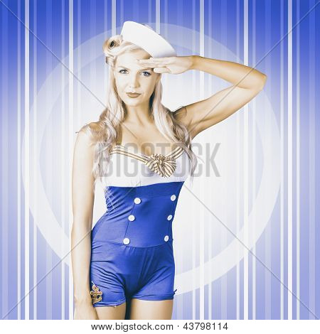 American Pinup Poster Girl In Military Uniform