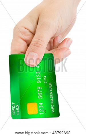 hand giving credit card