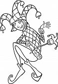 stock photo of jester  - Black and White Cartoon Illustration of Woman in Jester or Joker Costume - JPG