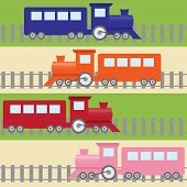 stock photo of train-wheel  - Cartoon stripy seamless pattern with colorful trains - JPG