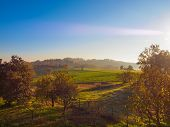 foto of bute  - Landscape panorama view of Piedmont hills in Northern Italy - JPG