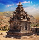 picture of arjuna  - Old stone small Hindu temple candi Arjuna Dieng Plateau Java Indonesia  - JPG