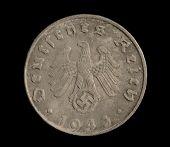 stock photo of swastika  - One side of a five reichspfennig coin - JPG