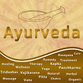 stock photo of ayurveda  - Image of Ayurveda keywords mortar with brown grunge and burst - JPG