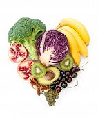 image of avocado  - Foods with high nutritional value in a heartshape including red cabbage avocado and pomegranate - JPG