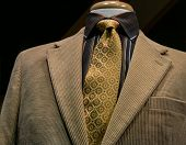 Beige Corduroy Jacket With Black Striped Shirt And Yellow Tie
