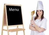 Adorable Cook With A Blackboard poster