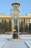 pic of pendulum clock  - Transparent clock with a pendulum in a central square in Krasnoyarsk - JPG