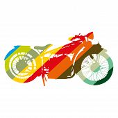 Vintage Motorcycle motorbike color art vector