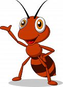 pic of waving hands  - Vector illustration of ant cartoon waving hand - JPG