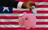 Funding Euro Into Piggy Rich Bank National Flag Of Liberia