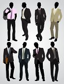 stock photo of character traits  - Vector illustration of a eight businessman silhouettes - JPG