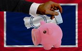 Funding Euro Into Piggy Rich Bank Flag Of American State Of Wyoming