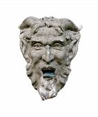 pic of perversion  - Sculpture of a Diabolical head isolated on white background - JPG