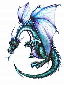 image of dragon head  - Blue dragon on white background - JPG