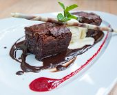 stock photo of fancy cakes  - fancy dessert chocolate brownie and ice cream - JPG