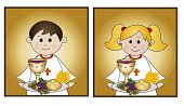 pic of eucharist  - illustration for first communion for boy and girl - JPG