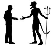 pic of immoral  - Editable vector silhouette of a man hesitating to shake hands to do a deal with the devil - JPG