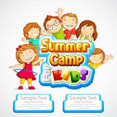 stock photo of schoolboys  - vector illustration of kids summer camp poster - JPG