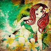 stock photo of pageant  - Vintage background with island girl in green bikini with red hair and plumeria flower - JPG
