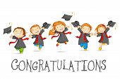 stock photo of degree  - vector illustration of happy graduates with mortarboard - JPG