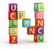 stock photo of letter n  - Letter N from ABC cubes for kid spell education - JPG