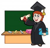 stock photo of school-leaver  - Graduate student standing before blackboard  - JPG