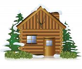 stock photo of wooden shack  - Cottage in the middle of snow forest create by vector - JPG